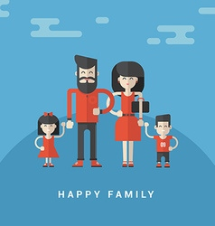 Flat style happy family parents with son and vector