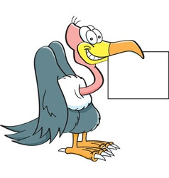 Cartoon buzzard holding a sign vector