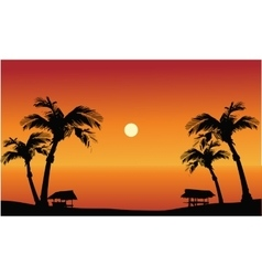 Panorama beach at the sunset vector