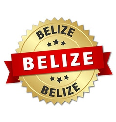 Belize round golden badge with red ribbon vector