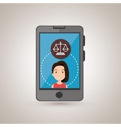 Smartphone woman and justice isolated icon design vector