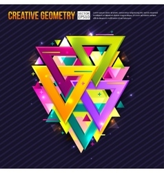 Abstract background with triangles light effects vector image vector image