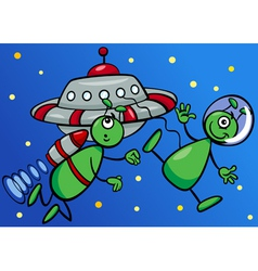 aliens in space cartoon vector image vector image