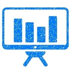 Bar chart monitoring board grainy texture icon vector