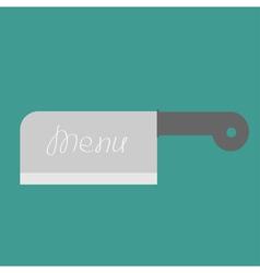 Big steel kitchen meat knife menu cover flat desig vector