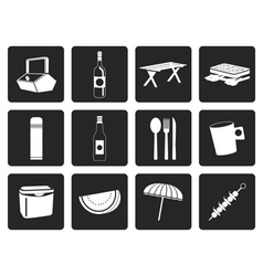 Black picnic and holiday icons vector