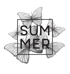 Butterflies Summer Stipple with vector image