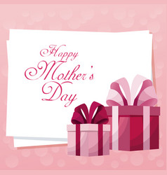 Card happy mothers day gift boxes cute vector