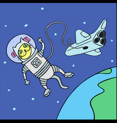 Cartoon cat astronaut in yellow and blue colors vector