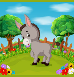 cartoon happy donkey smile in the farm vector image vector image