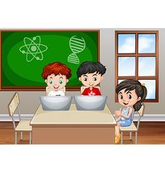 Children working in classroom vector