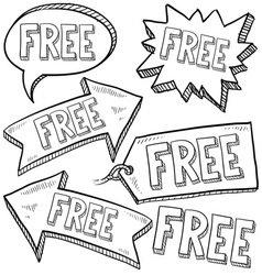 doodle label tag free vector image