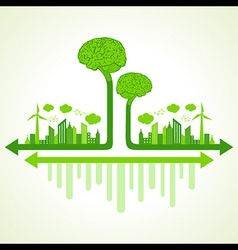 Ecology concept with eco brain vector image vector image
