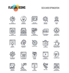 flat line icons design-seo and web optimization vector image vector image