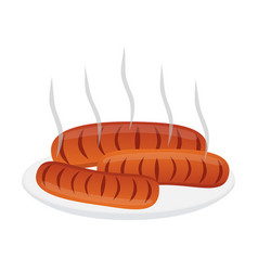 Fresh sausages for barbecue on plate flat style vector