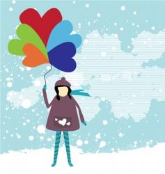 girl holding balloon vector image