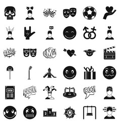 good emotion icons set simple style vector image vector image