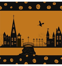 Halloween card seamless pattern vector image vector image