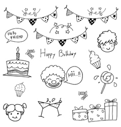 Hand draw birthday doodle vector
