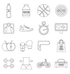 Healthy life icons set outline style vector