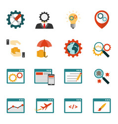 Internet marketing flat icons set vector