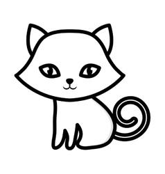 kitten sitting adorable outline vector image vector image