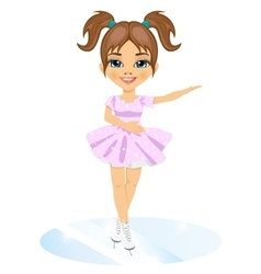 Little cute girl in skate suit skating indoors vector image