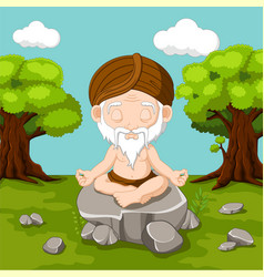 Meditation old man sitting in lotus position vector