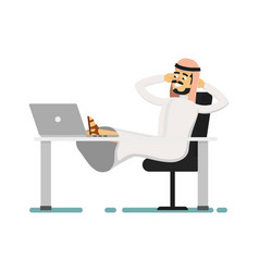 Muslim businessman sitting with feet on table vector