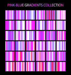 Pink and blue colors gradients collection bright vector