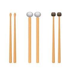 Profesional wooden drum sticks with rounded ends vector