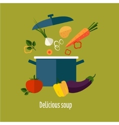 Recipe vegetarian vegetable soup vector