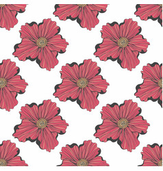 Red flower seamless hand drawn pattern for design vector