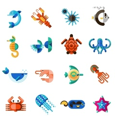 Sea creatures set vector