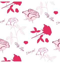 Seamless pattern with pink rose 6 vector image vector image