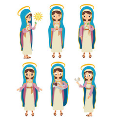 set of virgin saint mary vector image