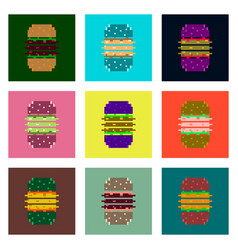 Set pixel icons of burger vector