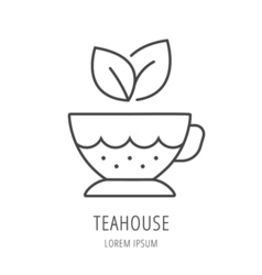 Simple logo template tea cup vector