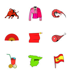 Spanish icons set cartoon style vector