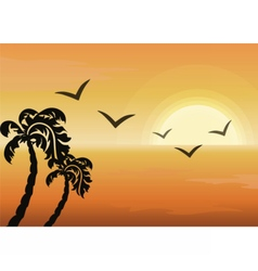 Summer tropical sunset background vector