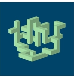 three dimension isometric abstract shape vector image