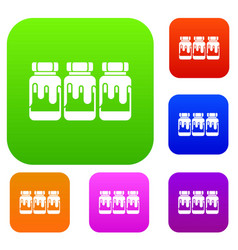 Three plastic jars with gouache set collection vector