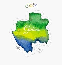 Travel around the world gabon watercolor map vector