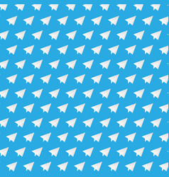 white paper plane on blue background vector image