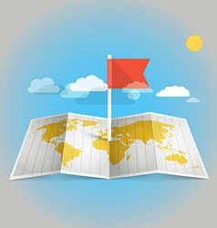 World map with red flag vector image vector image