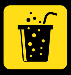 Yellow black sign - carbonated drink with straw vector