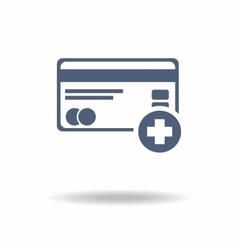 Credit card icon with plus accept concept help vector