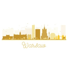 Warsaw City skyline golden silhouette vector image