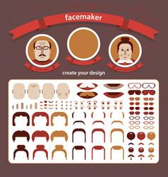 doodle faces puzzle vector image