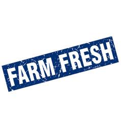 Square grunge blue farm fresh stamp vector